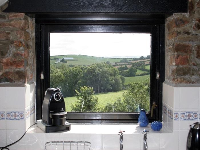 View from Swallow Cottage Kitchen at Robin Hill Farm Cottages